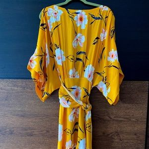 F21 Contemporary Yellow Floral Dress XL